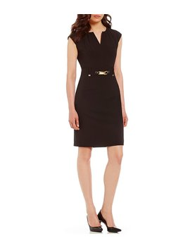 luxe-stretch-belted-shift-dress by generic