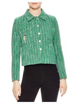 lelia-tweed-parrot-detail-jacket by sandro