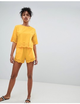 monki-broderie-detail-shorts-co-ord by monki