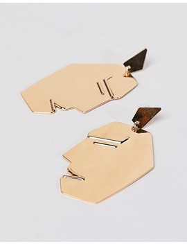 mango-face-earrings-in-gold by mango