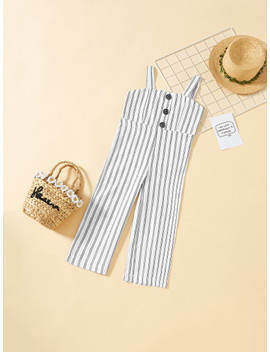 girls-button-front-striped-wide-leg-cami-jumpsuit by shein