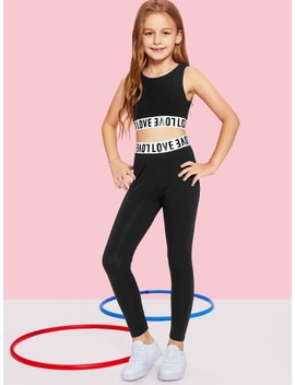 girls-letter-print-crop-top-&-pants-set by shein