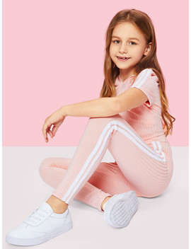 girls-stripe-side-ribbed-knit-hoodie-and-pants-set by shein