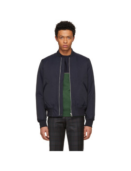 navy-cotton-&-nylon-bomber-jacket by ps-by-paul-smith