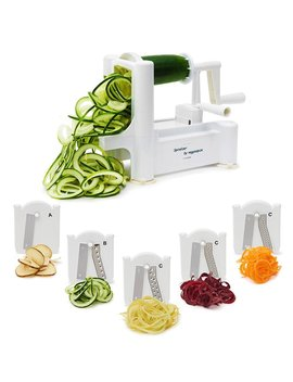 5-blade-spiralizer---spiral-slicer,-vegetable-maker,-shredder-!-makes-zucchini-noodles,-veggie-spaghetti,-pasta,-and-cut-vegetables-in-minutes-includes-blade-storage-box! by veggiespize