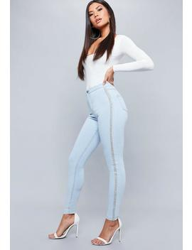 blue-vice-embellished-side-skinny-jeans by missguided