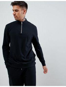 asos-design-tracksuit-half-zip-sweatshirt_slim-joggers-in-black-pique by asos-design