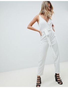 asos-design-wrap-front-jumpsuit-with-peg-leg-and-self-belt-in-stripe by asos-design