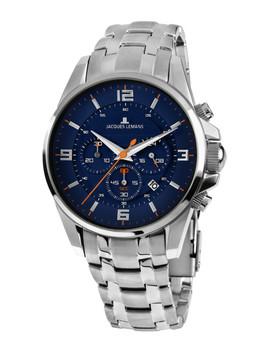 jacques-lemans-men-blue-&-silver-toned-chronograph-watch by jacques-lemans