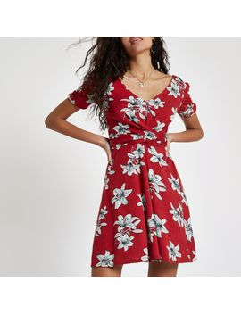 red-floral-twist-front-skater-dress by river-island