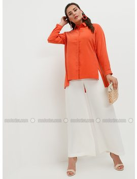 white---ecru---plus-size-pants---alia by modanisa
