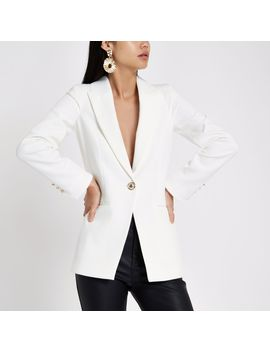 white-single-breasted-blazer by river-island