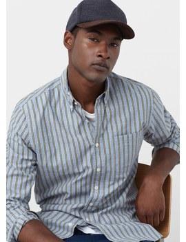 gestreept-katoenen-slim-fit-overhemd by mango
