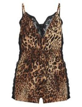 leopard-chiffon-lace-insert-romper by prettylittlething