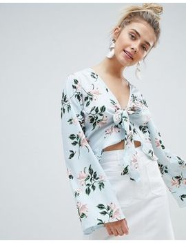 prettylittlething-floral-tie-front-crop-blouse by prettylittlething