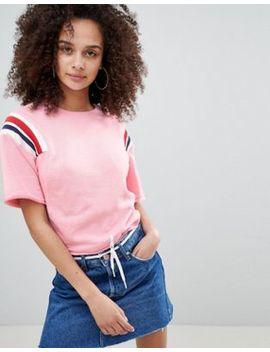 bershka-cropped-sweat-top-with-stripe-shoulder-in-pink by bershka