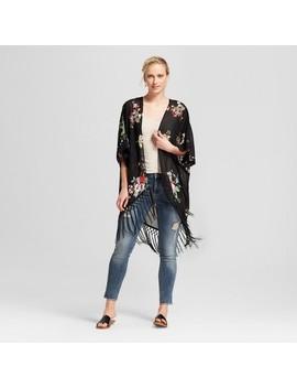 womens-short-sleeve-kimono-jacket-with-fringe-trim---xhilaration by xhilaration