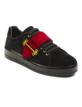 Prada Women's Velvet Grip Strap Low Top Sneaker Shoes Red by Prada