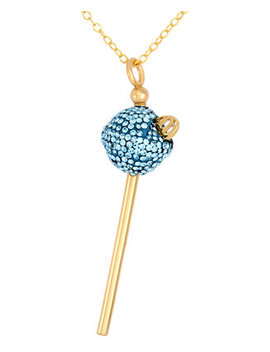 18k-gold-over-sterling-silver-necklace,-light-blue-crystal-mini-lollipop-pendant by sis-by-simone-i-smith
