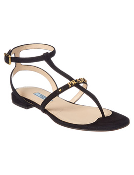 prada-logo-plaque-suede-sandal by prada