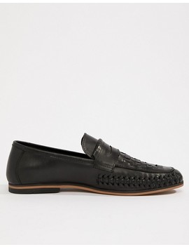 asos-design-loafers-in-woven-black-leather by asos-design