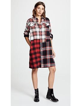 patched-tartan-shirt-dress by mcq---alexander-mcqueen