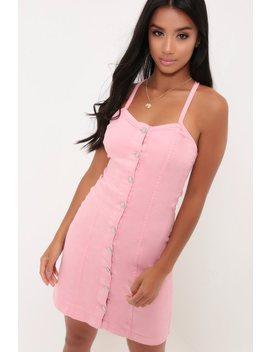 pink-button-through-denim-dress by i-saw-it-first