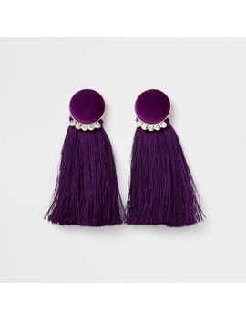 gold-tone-purple-velvet-circle-tassel-earring by river-island