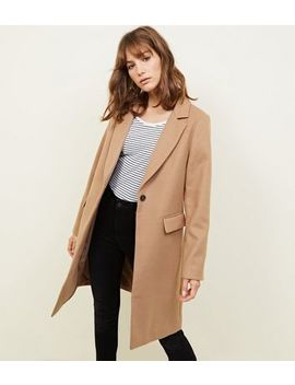 camel-single-breasted-formal-coat by new-look