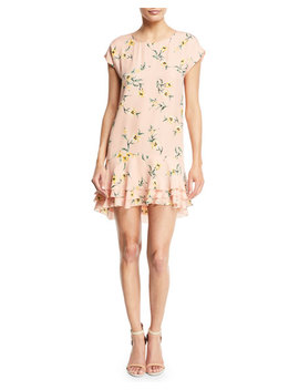coreen-round-neck-floral-print-silk-shift-dress-with-flounce-hem by joie