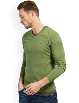 tom-tailor-men-olive-green-solid-pullover by tom-tailor