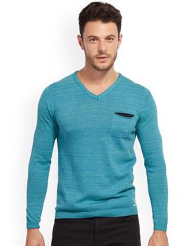 tom-tailor-men-blue-self-design-pullover by tom-tailor