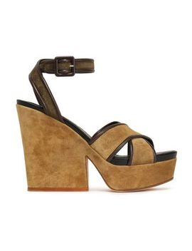 leather-trimmed-suede-platform-wedge-sandals by sergio-rossi