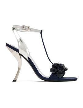 floral-appliquéd-metallic-leather-sandals by roger-vivier