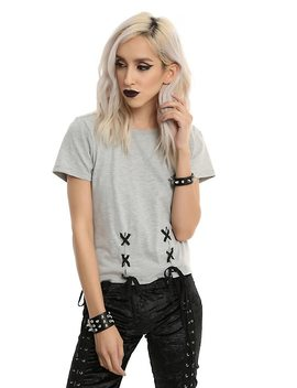 double-lace-up-girls-top by hot-topic
