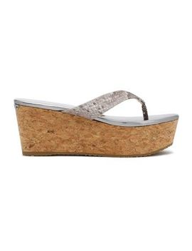 snake-effect-leather-wedge-slides by jimmy-choo
