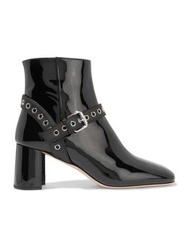 eyelet-embellished-patent-leather-ankle-boots by miu-miu