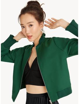 frill-hem-bomber-jacket---green by pomelo