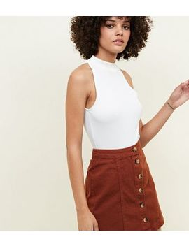 brown-button-front-a-line-denim-skirt by new-look