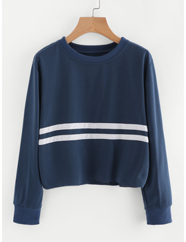 striped-trim-sweatshirt by romwe