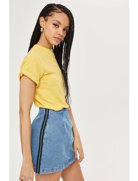 petite-side-stripe-denim-skirt by topshop