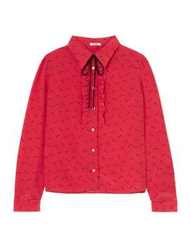 ruffled-printed-crepe-de-chine-blouse by miu-miu
