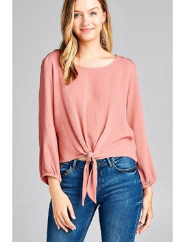Ladies Fashion Long Sleeve Round Neck Front Bow Tie Crinkle Gauze Woven Top Id.35536c by 599 Fashion