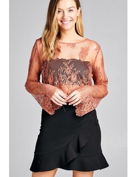 ladies-fashion-long-sleeve-round-neck-scallop-lace-hem-crop-top-id35481a by 599fashion