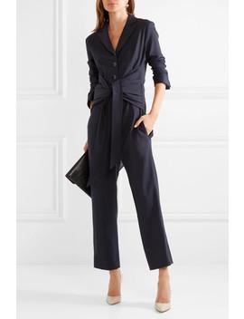 tie-front-silk-trimmed-stretch-twill-jumpsuit by victoria,-victoria-beckham