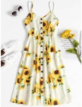 button-sunflower-print-midi-dress---multi-s by zaful