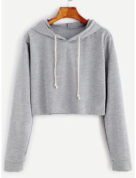 pale-grey-drawstring-hooded-crop-sweatshirt by romwe