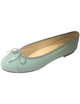 light-green-16c-patent-leather-cap-toe-bow-ballerina-ballet-flats by chanel