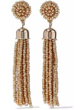 gold-tone-beaded-tassel-earrings by kenneth-jay-lane