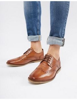 asos-design-casual-brogue-shoes-in-tan-leather-with-natural-sole by asos-design